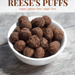 Healthy Copycat Reese's Puffs   Healthy Helper @Healthy_Helper Chocolate, peanut butter cereal heaven made healthy! A vegan, gluten-free, grain-free version of your childhood breakfast staple. Crunchy on the outside, soft on the inside, and absolutely AMAZING with ice-cold milk!