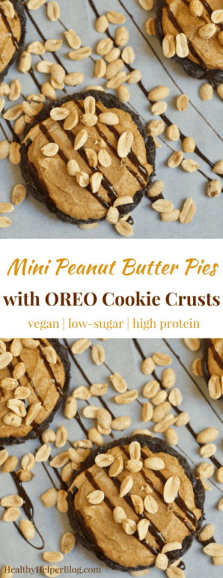 Mini Peanut Butter Pies with OREO Cookie Crusts | Healthy Helper @Healthy_Helper These easy to make, vegan Peanut Butter Pies are the perfect single serving version of the ultimate peanut butter lovers dessert! They are naturally sweetened, high in plant-based protein, and taste like the real thing....all in a marvelously mini package.