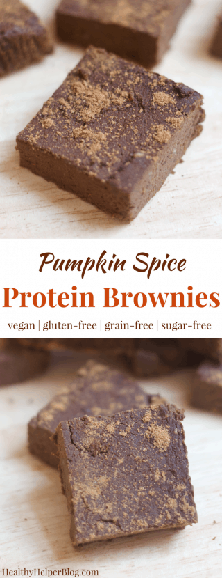 Pumpkin Spice Protein Brownies | Healthy Helper @Healthy_Helper Your favorite chocolate treat made HEALTHY and seasonal! These protein brownies are infused with the best flavor of fall...pumpkin spice! They're vegan, gluten-free, grain-free, and high in plant based protein, too!
