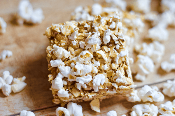 dinner No-Bake Sweet and Salty Popcorn Bars | The sweet n' salty snack bar of your dreams is here! These Honey Peanut Butter Popcorn bars are sure to delight any taste buds. No baking required, gluten-free, and easily made vegan, too!