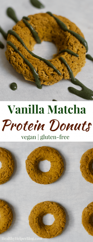 Vanilla Matcha Donuts | Healthy Helper @Healthy_Helper Soft baked vegan donuts with sweet vanilla flavor and a subtle hint of matcha green tea! High in protein, gluten-free, and delicious for an afternoon snack or morning treat. The Vanilla Matcha Donuts will be your new favorite way to enjoy matcha!