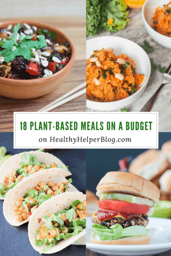 18 Plant-Based Meals on a Budget | Healthy Helper @Healthy_Helper A roundup of healthy, wholesome meals that are 100% plant-based and easy on your budget! Plan a week of nutrition eatswith this delicious roundup of cost effective, yet tasty recipes from around the web. Real food ingredients, creative dishes,and no animal products in sight!