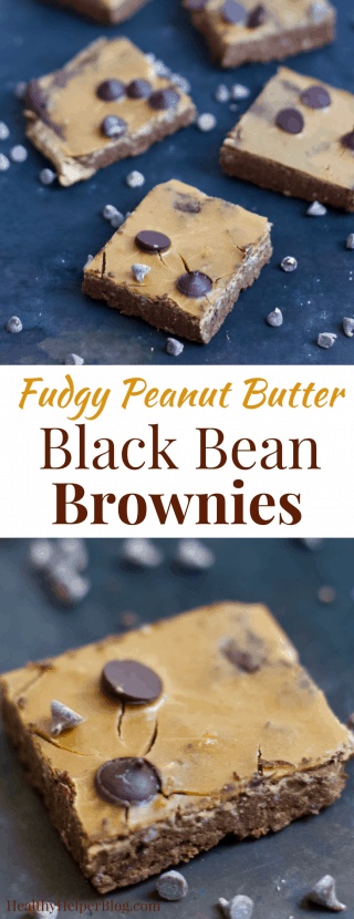 Fudgy Peanut Butter Black Bean Brownies | Healthy Helper @Healthy_Helper Rich chocolate combines with delicious peanut butter for the ultimate brownie experience. Vegan, gluten-free, high in plant-based protein, and SO easy to make.