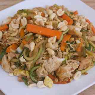 Healthy Low-Carb Chicken Pad Thai | Healthy Helper A healthy low-carb alternative to your favorite takeout meal! Full of veggies, flavor sauce, and lean proteins, this delicious Chicken Pad Thai recipe will be your new go-to for when you're craving Thai food.