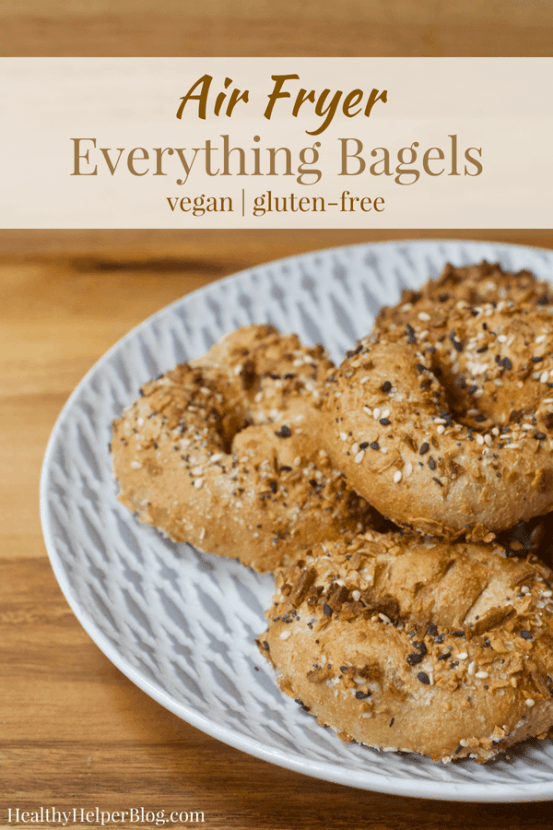 Vegan Everything Air Fryer Bagels   Healthy Helper Your favorite salty n' savory Everything bagels gone vegan and gluten-free! Made in the Air Fryer, these healthy, whole grain bagels are high low-fat, high-protein, oil-free, and require no boiling/baking. Easy to make and SO delicious with your favorite vegan cream cheese spread.