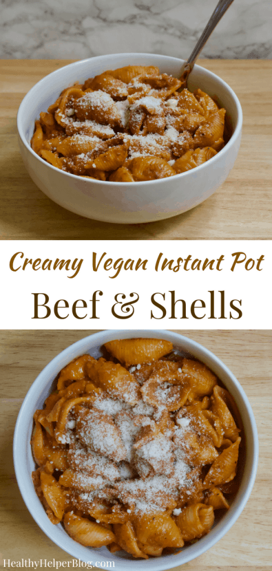 Creamy Vegan Instant Pot Beef and Shells   Healthy Helper This Creamy Vegan Beef & Shells dish is an easy one pot dinner made entirely in a pressure cooker. It's like homemade hamburger helper, with beefless crumbles and pasta in a tomato cream sauce and very kid-friendly!