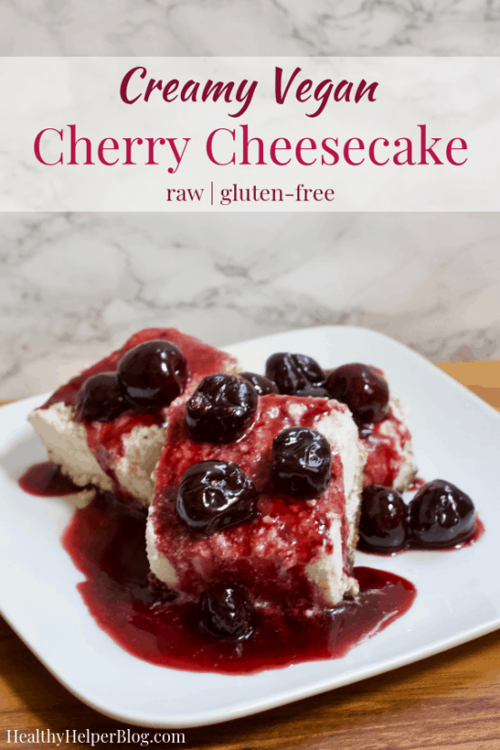 Creamy Vegan Cherry Cheesecake | Healthy Helper This creamy raw plant-based cheesecake with a delicious cherry walnut crust will be your new favorite HEALTHY dessert! Low in sugar, gluten-free, and easy to make, my Creamy Vegan Cherry Cheesecake is a delicious alternative to traditional cheesecake with a fruity twist that can't be beat.
