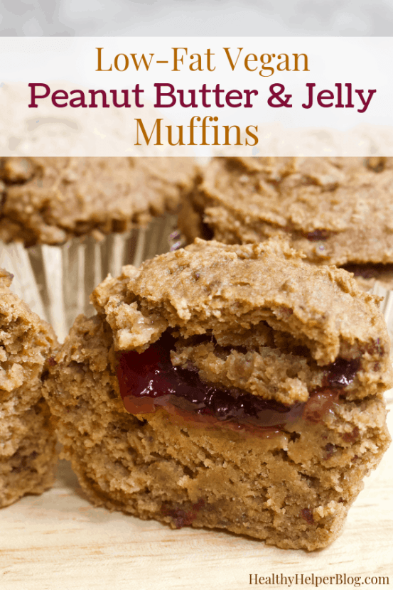 Low-Fat Vegan Peanut Butter and Jelly Muffins   Healthy Helper Your favorite combination of peanut butter and jelly in delicious muffin form! High carb, low-fat, vegan, and gluten-free these PB&J muffins will your new favorite heathy breakfast or snack to take on the go. + 10 other PEANUT BUTTER recipes for National Peanut Butter Lover's Month!