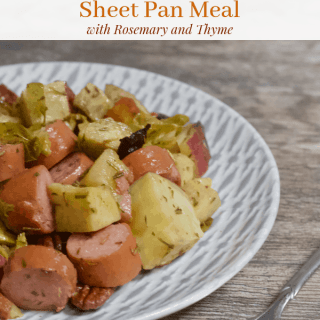 Smoked Sausage Sausage Sweet Potato Sheet Pan Meal with Rosemary and Thyme | Healthy Helper A healthy meat and potatoes meal filled with lean protein, complex carbohydrates, fresh produce, and TONS of flavor from all the tasty ingredients. This one pan meal is super easy to make and perfect for meal prep. From strict carnivores to healthy eating lovers, this sheet pan meal will be a new favorite amongst the whole family!