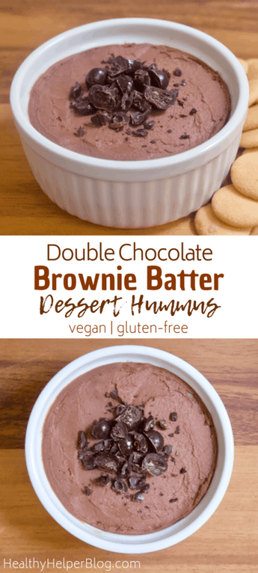 Double Chocolate Brownie Batter Dessert Hummus   Rich double chocolate dessert hummus that tastes like freshly mixed brownie batter! Creamy, smooth, and just sweet enough to satisfy all your chocolate cravings. Vegan, gluten-free, and low in sugar.