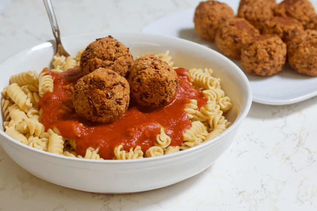 Grain-Free Pasta and BEANBalls | A gluten-free, plant-based twist on spaghetti and meatballs! This Grain-Free Pasta and BEANBalls meal will please all Italian food lovers whether they're vegan or not.