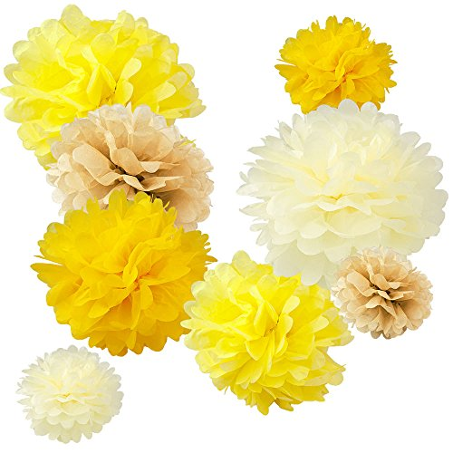 Wyzworks set of 8 assorted beeswax honey yellow color pack 8 10 wyzworks set of 8 assorted beeswax honey yellow color pack 8 10 12 tissue pom poms flower party decorations for weddings birthday bridal mightylinksfo