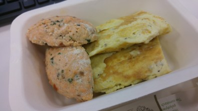 BREAKFAST: Omelette and salmon quenelles
