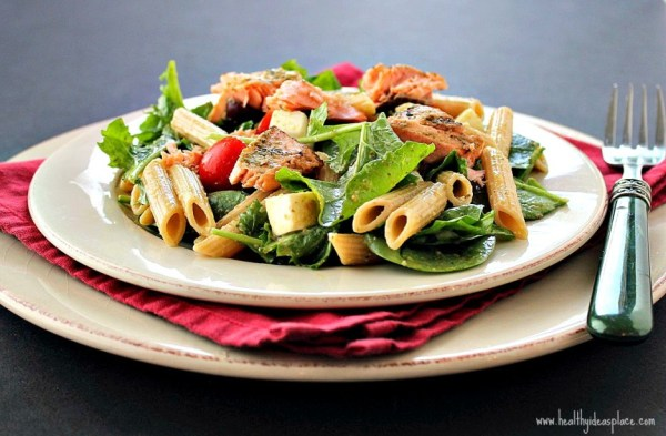 Pesto Pasta Salad with Grilled Salmon Healthy Ideas Place