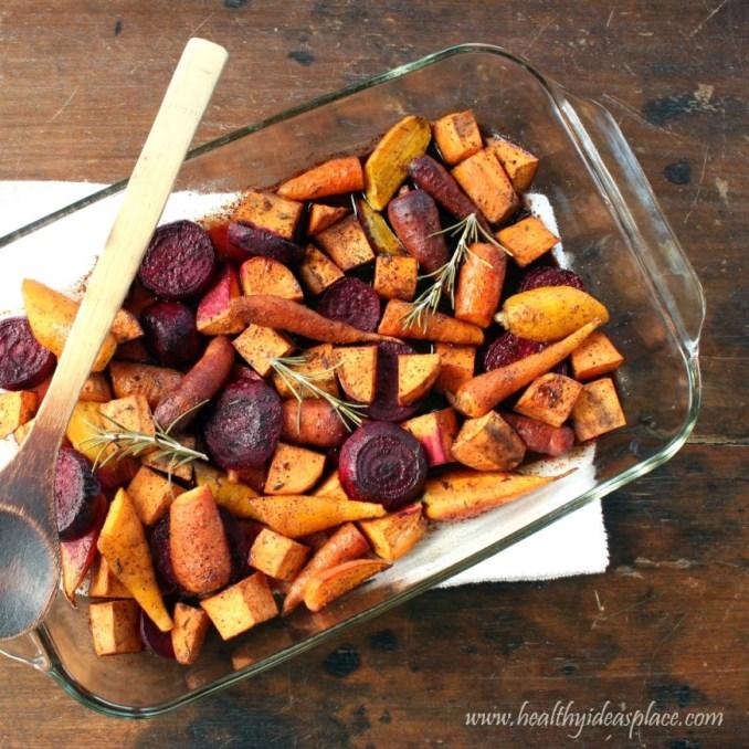 Maple-Balsamic Roasted Winter Vegetables