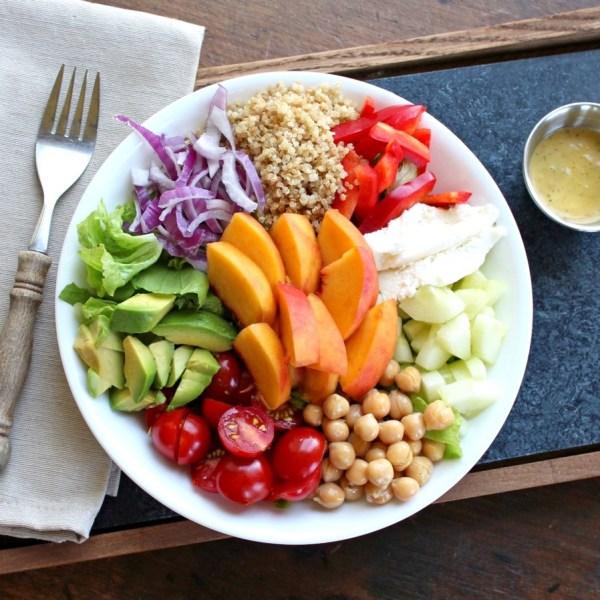 Summer Salad Bowl with Peach Basil Vinaigrette Healthy