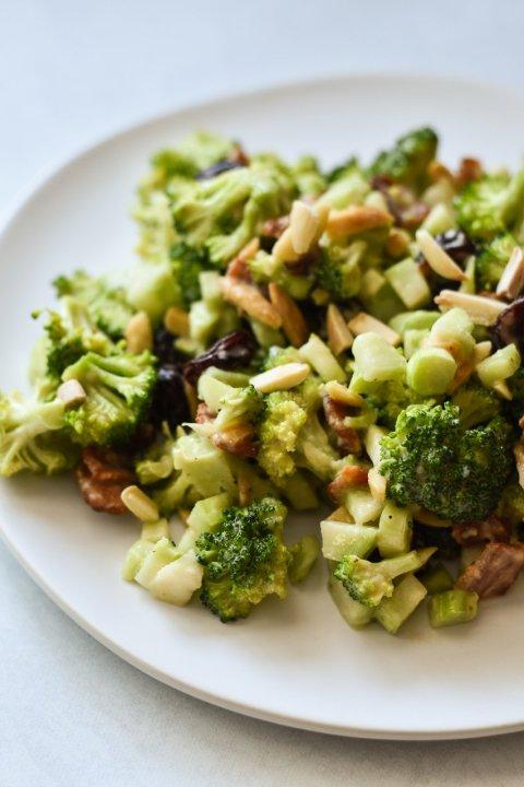 Broccoli Crunch Salad with Shallot Vinaigrette (Mayo-Free)