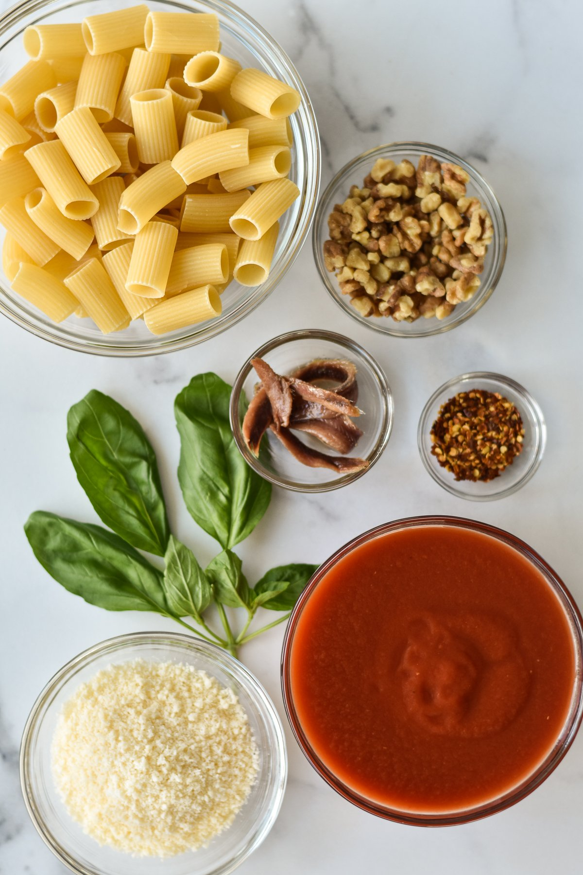 ingredients for tomato walnut rigatoni