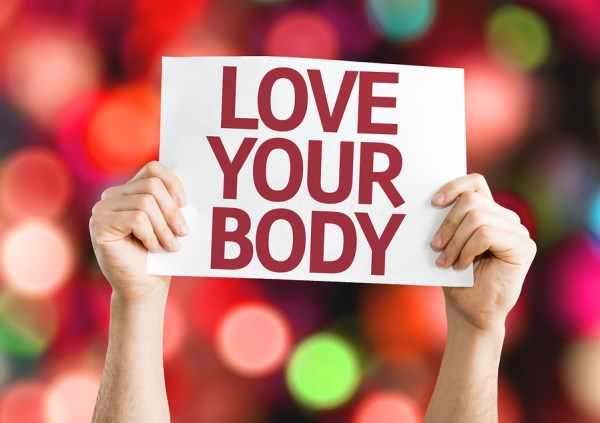 Love Your Body card with colorful background with defocused ligh