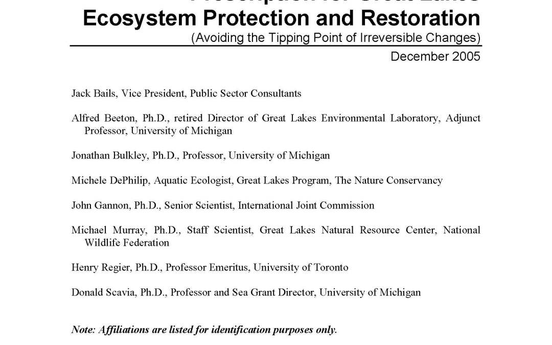 Prescription for Great Lakes Ecosystem Protection and Restoration: Avoiding the Tipping Point of Irreversible Changes