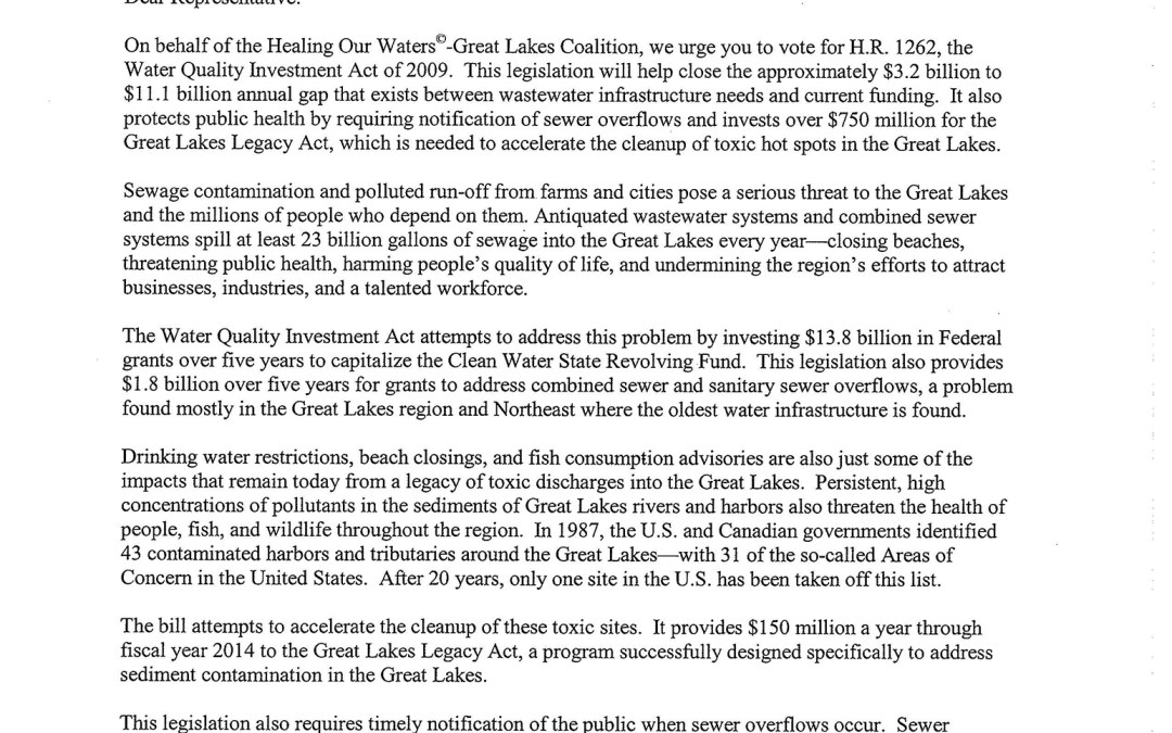 Coalition to House of Representatives Regarding the Water Quality Investment Act