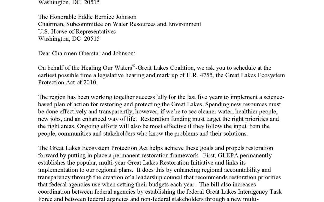 Coalition to U.S. House Chairpersons Regarding the Great Lakes Ecosystem Protection Act