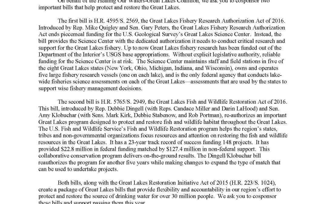 Coalition to Members of Congress Regarding the Two Great Lakes Bills