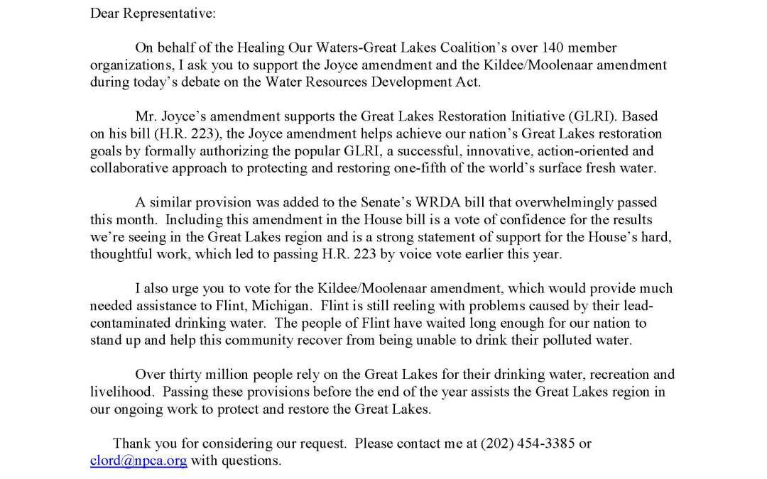 Coalition to Members of the U.S. House of Representatives Regarding the Water Resources Development Act