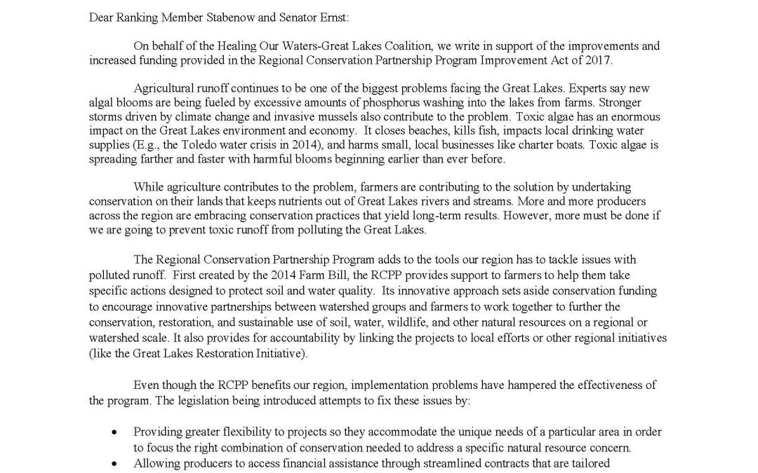 Coalition and Others to Senators Regarding the Regional Conservation Partnership Program