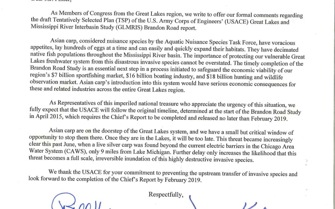 Members of Congress to Secretary of the U.S. Army Regarding Asian Carp