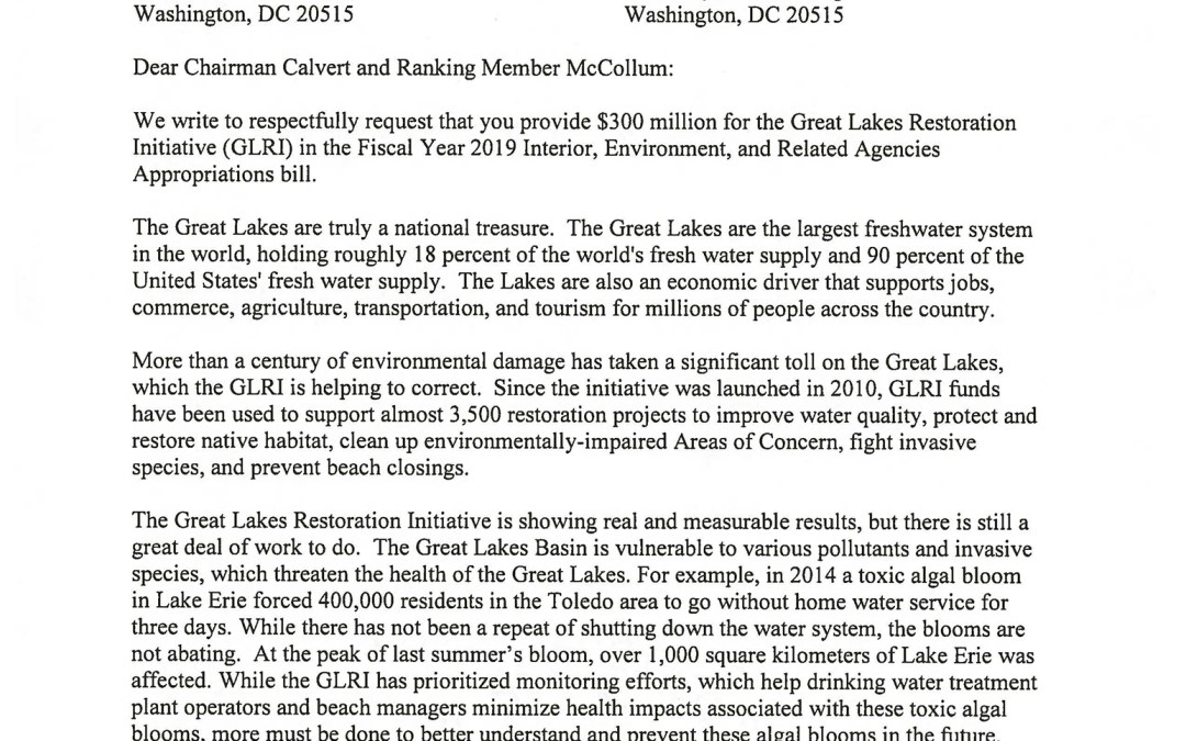 Representatives to Appropriators Regarding the Great Lakes Restoration Initiative