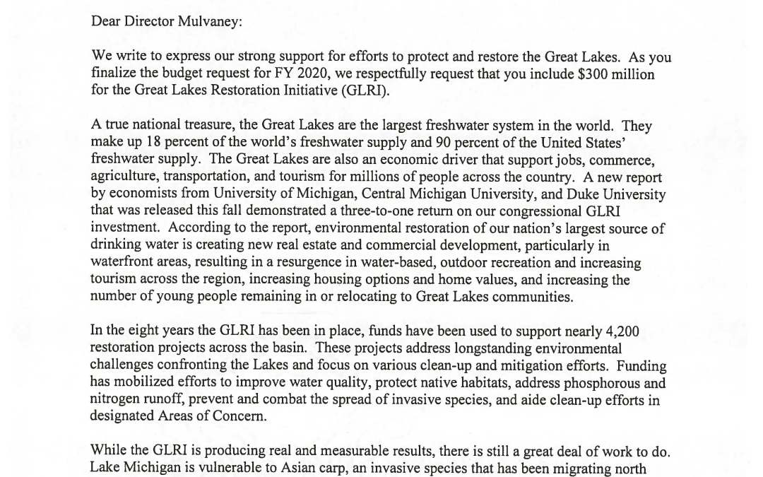 Letter from Representatives to Office of Management and Budget Regarding the Great Lakes