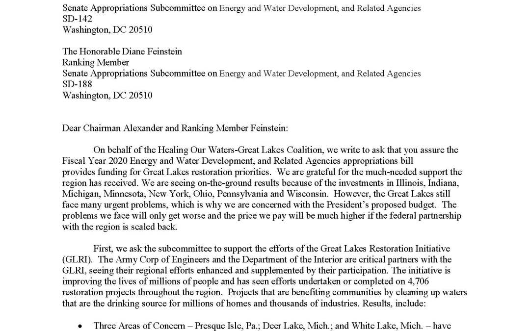 Coalition to Senate Appropriators Regarding Energy, Water, and Related Agencies Budget