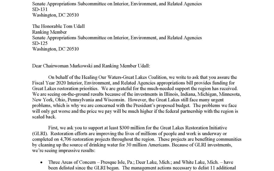 Coalition to Senate Appropriators Regarding the Interior, Environment, and Related Agencies Budget