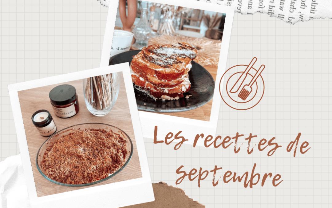 Les recettes de septembre