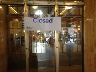 Grand Central Station is closed for Hurricane Sandy.