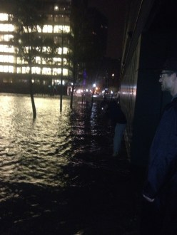 It never really rained where we were. But, the water surged up and flooded most of lower manhattan.