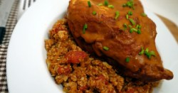 Oven Baked Chicken with Pumpkin Enchilada Sauce