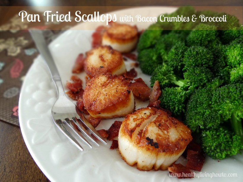 Pan Fried Scallops with Bacon Crumbles and Broccoli