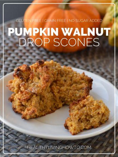 Pumpkin Walnut Drop Scones | healthylivinghowto.com