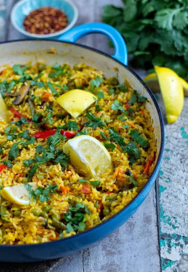 plant based paella side