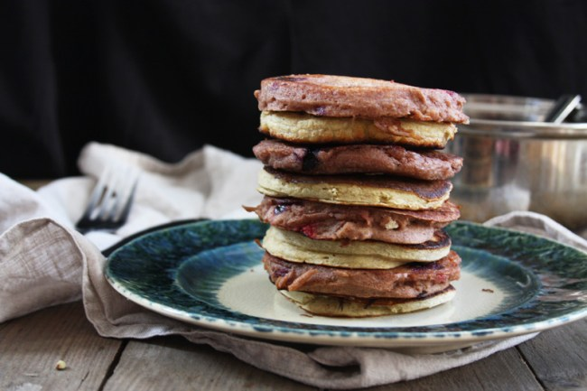 Healthy pancake recipes - blueberry and banana buckwheat pancakes