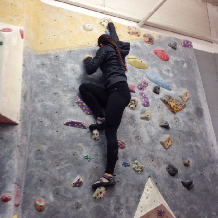 Bouldering at the Arch Climbing Wall