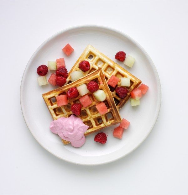 Strawberry Protein Waffles