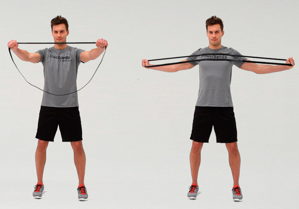 Powerband full body workout - chest stretch