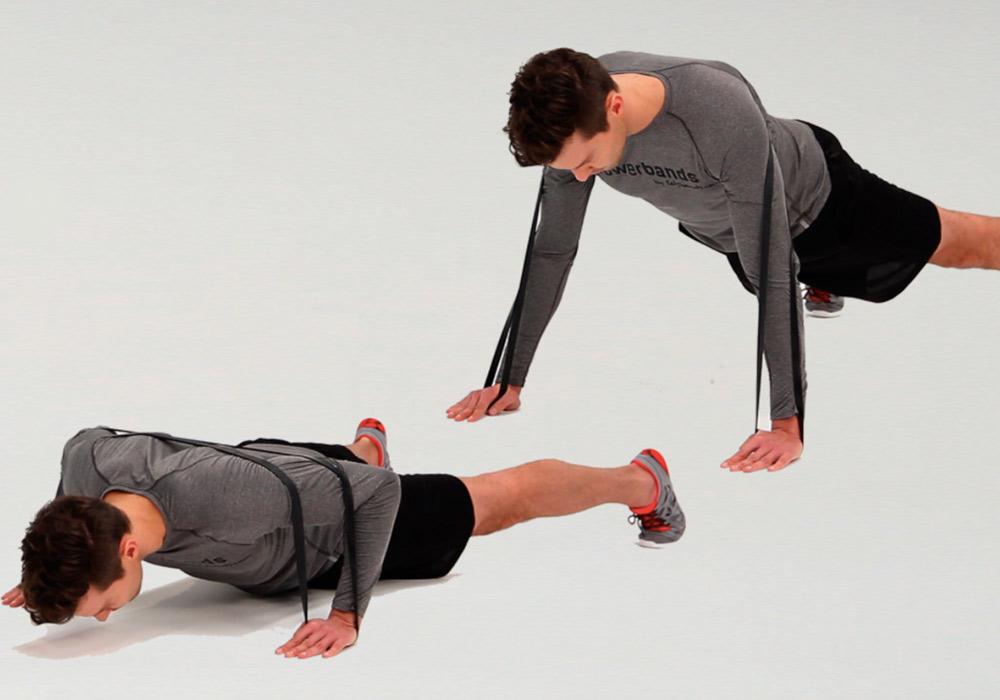 Powerband full body workout - press up