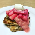 Vegan Cinnamon Pancakes with Spiced Roast Rhubarb