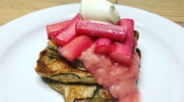 Vegan Cinnamon Pancakes with Spiced Roast Rhubarb
