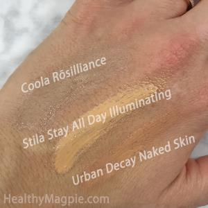 Swatches, Pictures and Reviews of Coola Rosilliance Organic BB Cream Beauty Balm with SPF 30, Stila Stay All Day 10-in-1 HD Illuminating Beauty Balm. Both are Paraben Free Beauty Balms and Urban Decay Naked Skin Illuminating Beauty Balm.