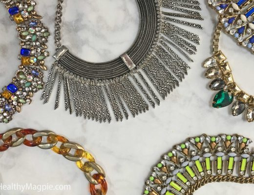 Pictures of beautiful jeweled, neon, emerald and tortoise shell statement necklaces. These were some of my favorite statement necklaces, but they put too much pressure on my neck and shoulders. I gave them to friends instead of wearing them. Reducing necklace wearing majorly improved my neck and shoulder tension and provided TMJ relief.